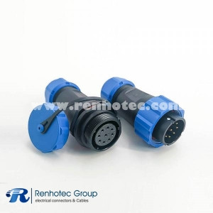 IP68 Connectors Male Plug & Female Socket Connector In-Line Type SP21-9 Pins Connector