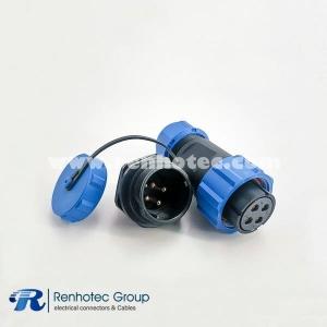 Waterproof SP21 Series IP68 Female Plug & Male Socket Rear-nut Mount Straight SP21-4pins