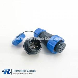 Waterproof electrical SP21 Series IP68 Female Plug & Male Socket Rear-nut Mount Straight SP21-5 Pins