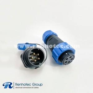 5 pin Connectors SP21 Series IP68 Female Plug & Male Socket Rear-nut Mount Straight SP21-5 Pins