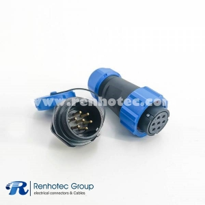 7pin Waterproof SP21 Series IP68 Female Plug & Male Socket Rear-nut Mount Straight