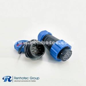 SP21 Series IP68 9 Pin Female Plug & Male Socket Rear-nut Mount Straight