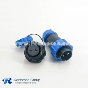 SP21 Series IP68 2pin Male Plug & Female scoket Rear-nut Mount Straight Aviation Connector