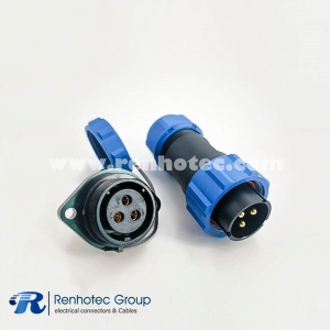 SP21 Series IP68 5 Pin Male Plug & Female scoket Rear-nut Mount Straight Aviation Connector