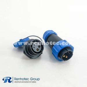 Waterproof SP21 Series IP68 5 Pin Male Plug & Female scoket Rear-nut Mount Straight