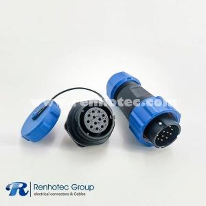 IP68 SP21 Series 12pin Male Plug & Female scoket Rear-nut Mount Straight
