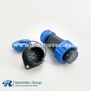 9 Pin SP21 Series Female Plug & Male Socket 2 Holes Flange Panel Mount Solder Type
