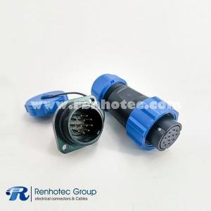 12pin SP21 Series Female Plug & Male Socket 2 Holes Flange Panel Mount Solder Type