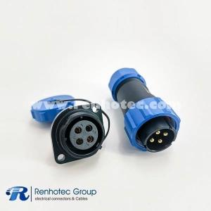 4pin SP21 Waterproof Male Plug & Female Socket 2 Holes Flange Panel Mount Solder Type