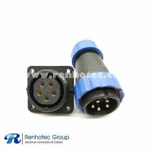 SP29 5 pin Plug Straight Male Plug&Female Receptacles 4 Hole Flange