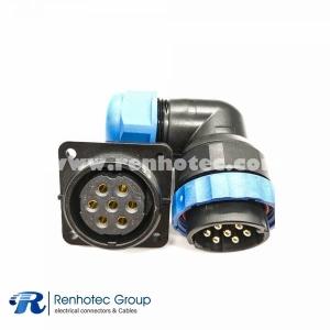 SP29 7Pin Angled Male Plug&Female Receptacles 4 Hole Flange Panel Mount Solder Type