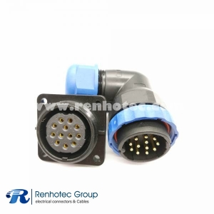 Waterproof electrical Connectors SP29 12Pin Angled Male Plug&Female Socket 4 Hole Flange