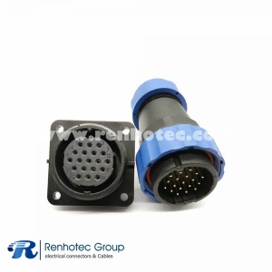 SP29 Series 19 pin Aviation Connector Straight Male Plug&Female Receptacles 4 Hole Flange