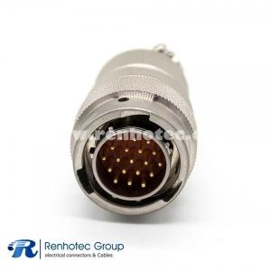 19 Pin Male Plug Straight Bayonet Coupling Solder Nickel Plating Y50EX Connector