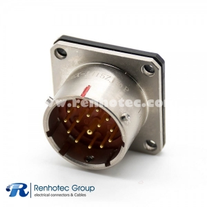 Y50EX Connector Straight 14 Shell Size 15 Pin Male Socket Bayonet Coupling Solder Cup 4 Holes Flange Nickel Plating