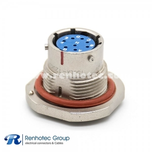 Circular Electrical Female Socket Solder Cup Y50EX 12 Shell Size Socket 8 Pin Straight Front Bulkhead Waterproof