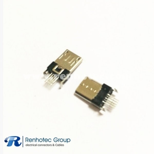 Micro USB Male Connector Nickel-plated SMT Soldering 180 Degree for PCB
