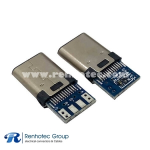 USB Type C Male Connector PCB Mount with 4 Solder Joints and 5.1K Resistor