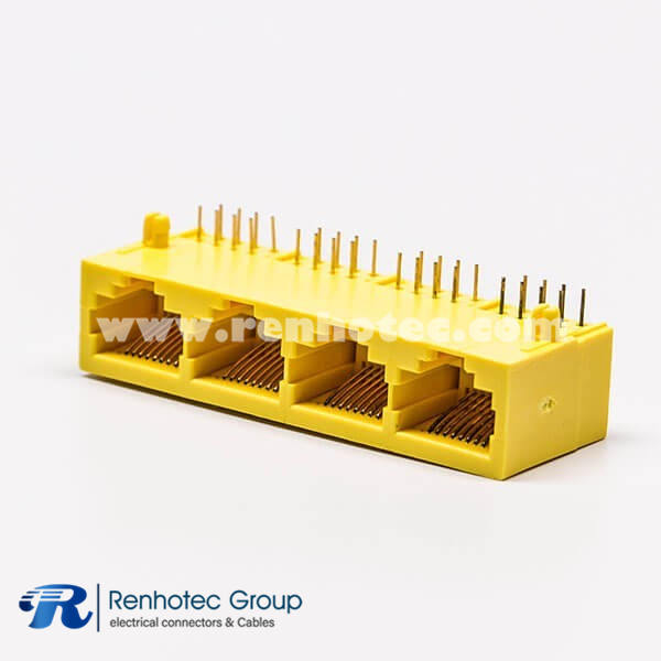 Female RJ45 Connectors 8P Yellow 4 Port without LED and without Shield for PCB