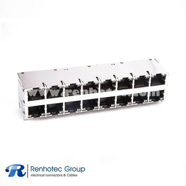 Shielded RJ45 Connector Jack 2x8 16-Port for Gigabit PoE+ With LEDs