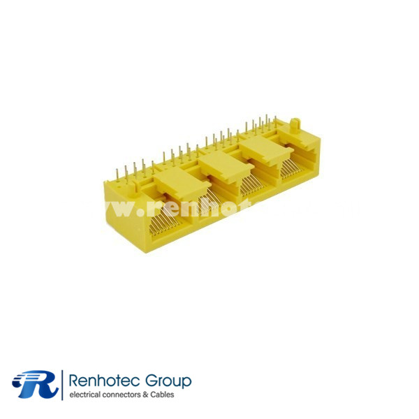 Yellow RJ45 Connector Socket 4Port Plastic Right Angled 8P8C 1*4 Without Led