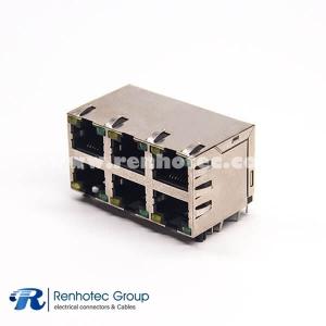 Multi RJ45 Jacks 2x3 Port with EMI Ethernet Network with LED Through Hole
