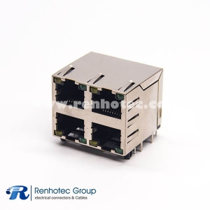 RJ45 Jack with LED 2x2 90 Degree DIP Type for PCB Mount with EMI