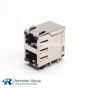 RJ45 Dual Jack Right Angled Shielded Connector Through Hole with LED