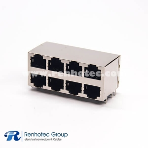 Shielded RJ45 Socket 8p8c 2x4 Right Angled Modular Connector Through Hole