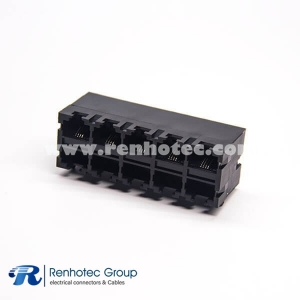 Unshielded RJ45 Connector 2x5 Network Connector Right Angled Through Hole without LED