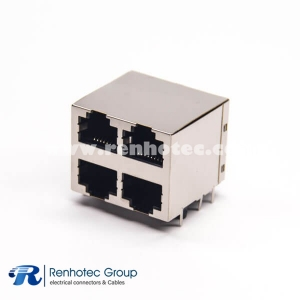 2x2 Modular Connector 90 Degree Shielded Jack DIP Type for PCB Mount