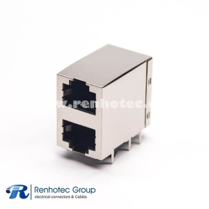 RJ45 Stacked Jack Dual Port Modular Connector Right Angled without Filtered