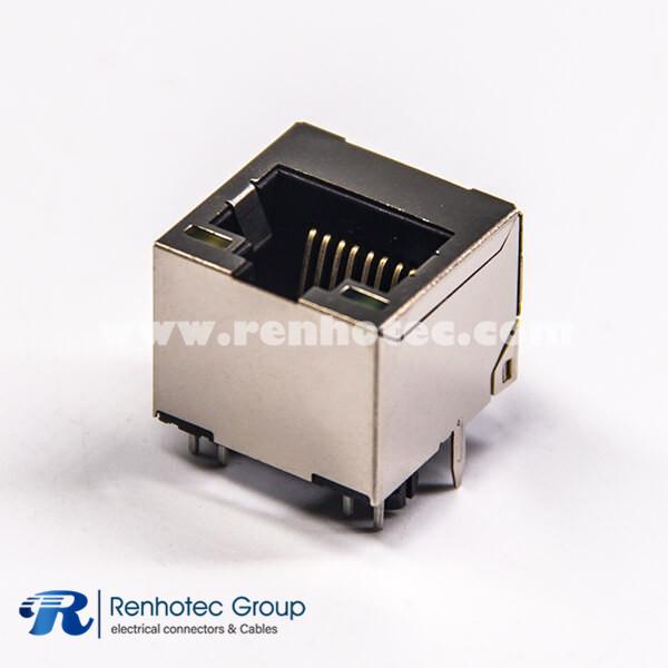 एलईडी के साथ पीसीबी माउंट के लिए कनेक्टर सिंगल पोर्ट 45P8C डीआईपी प्रकार के माध्यम से सीधे आरजे 8