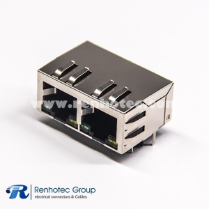 RJ45 Multiport Jack with EMI and leds 1×2 Right Angled 8p8c
