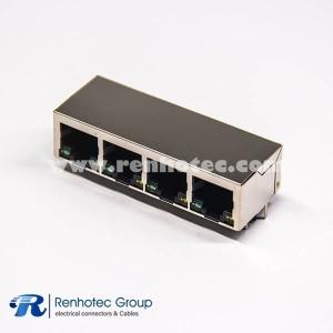 RJ45 Shielded Singled Port 1×4 Through Hole Modular Connector
