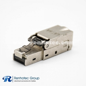 Network Module Cat6A Plugs Shielded Straight RJ45 FTP Toolless Plug