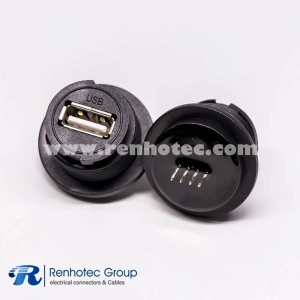 Waterproof USB 2.0 Type A Connectors Front Mount Female Straight Socket PCB Mount