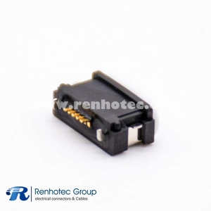 Waterproof MICRO USB Connector IPX8 Offset Type B Type 5 Pin With Waterproof Ring