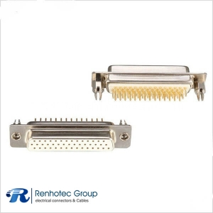 44 Pin HD D Sub  Connector Female Machined Pin for PCB with Harpoons