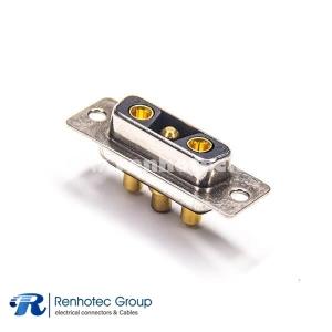 D Sub 3v3 Female Combo Type Striaght Black Insulator Connector PCB Mount