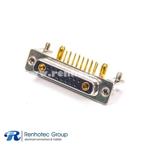 D-sub 17W2 Female Right Angle Combo DB Power Connector for PCB Mount