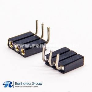 3 Pin Female Header Right Angled 2.54mm Pitch PCB Mount