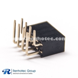 Right Angle Double Row Female Header 8 Pin 2.0mm Pitch Dip