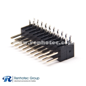 Pin Header PBT Right Angle 2.54mm Dual Row 20 Way Dip 7.4mm Plastic Heigh