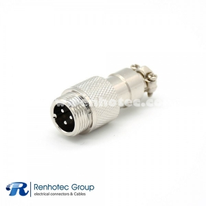 GX12 3 Pin Connector Reverse Straight Male Plug Solder Type For Cable