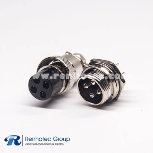 GX16 4 Pin Panel Receptacles&Cable Plug Straight Wire Aviation Connector