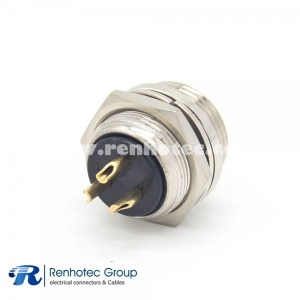 GX16 3 Pin connector Reverse Female Socket Straight Rear mount Solder Cup For Cable