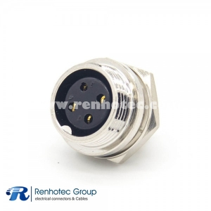 GX16 4 Pin Connector Straight Female Socket Reverse Rear mount Solder Cup