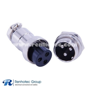 3 Pin Circular Connector Straight GX20 Male and Female Panel Mount
