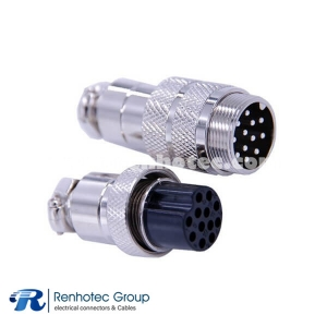 12 Pin Male Female Connector GX20 Straight Male Female Industral Connector